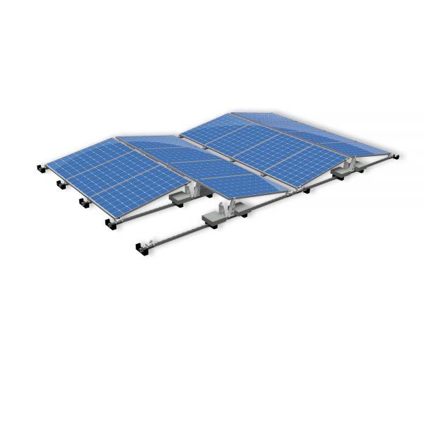 Van der Valk Producten bij Solartoday - Fotovoltage - verbindings- en bevestigingselementen - Alu achter voet ValkPro+ P10° zijkant